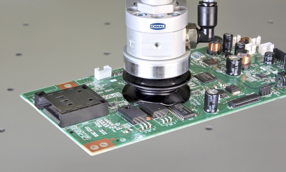 Safe vacuum handling of sensitive electronic components thanks to Schmalz products
